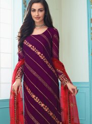 Embroidered Faux Georgette Churidar Salwar Kameez