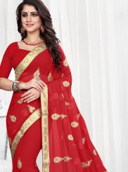 Embroidered Faux Georgette Classic Designer Saree