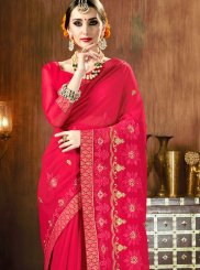 Embroidered Faux Georgette Classic Designer Saree in Hot Pink