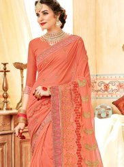 Embroidered Faux Georgette Classic Designer Saree in Peach