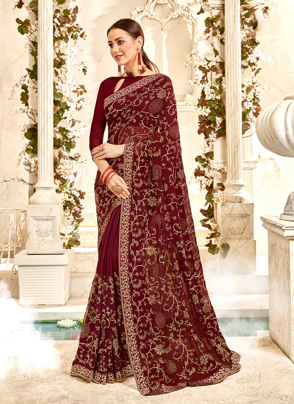 Embroidered Faux Georgette Classic Saree