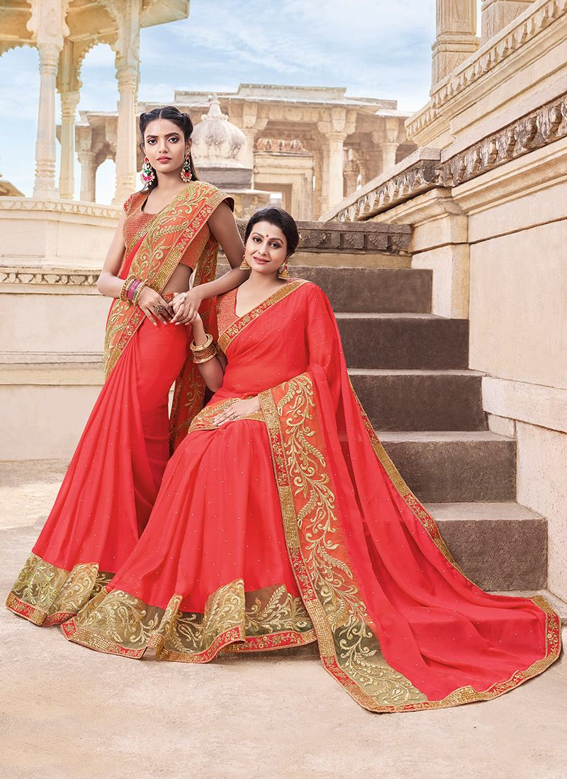 Embroidered Faux Georgette Classic Saree in Crimson