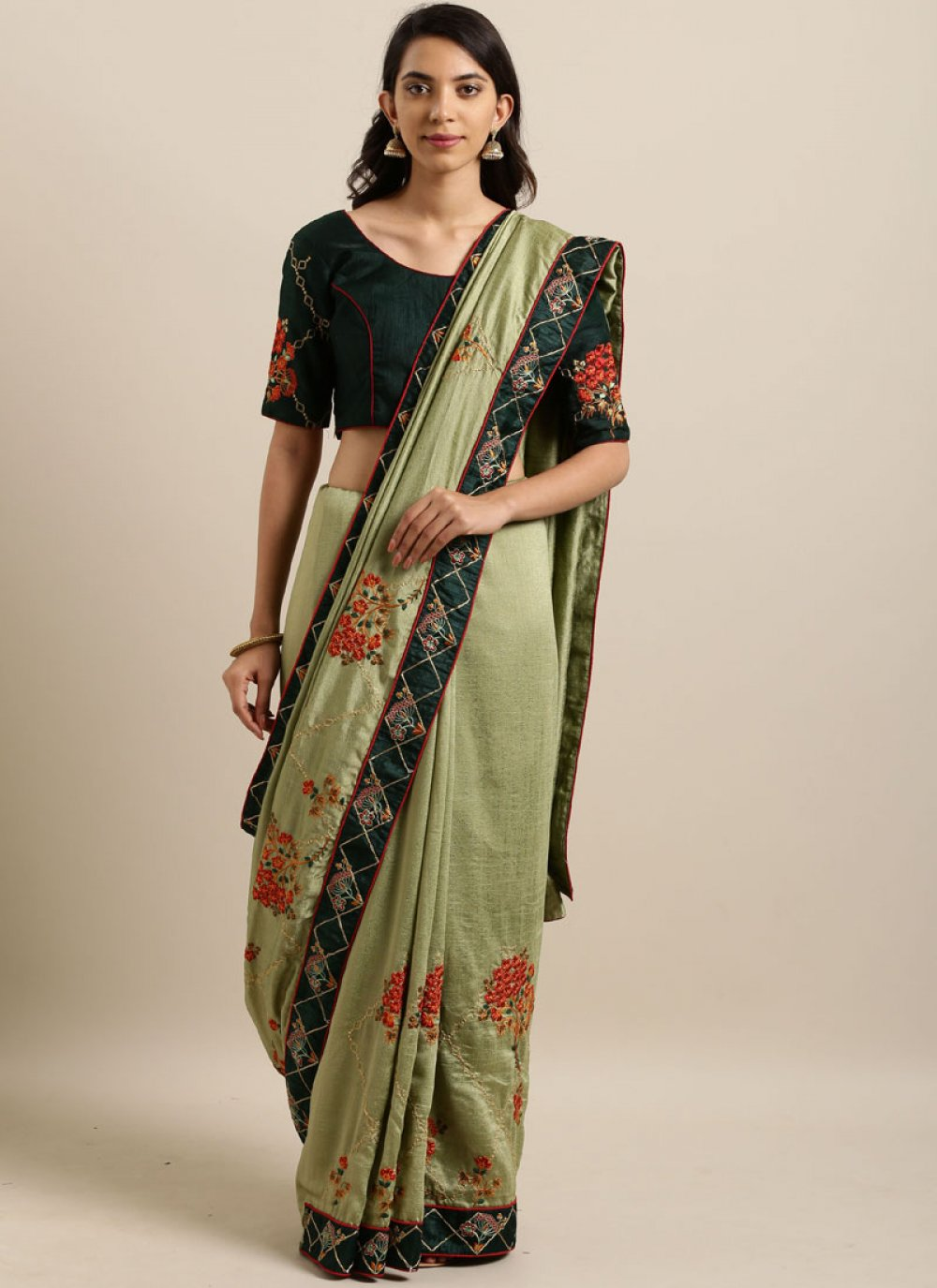 Embroidered Faux Georgette Classic Saree in Green