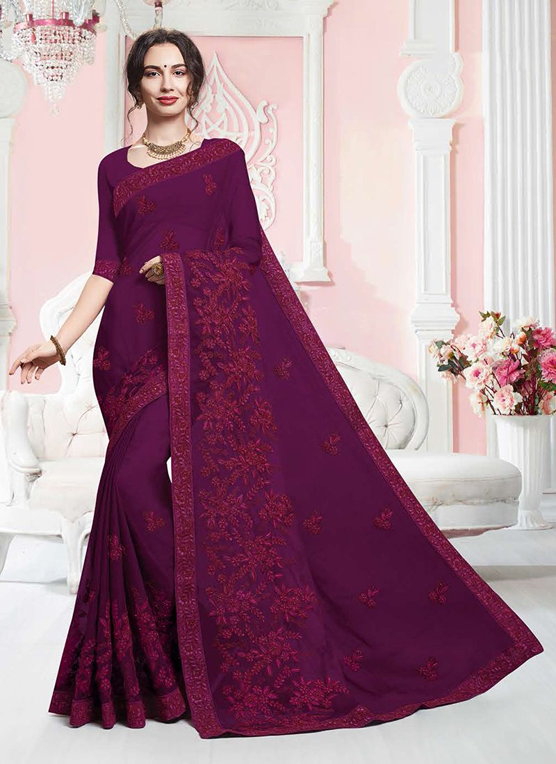Embroidered Faux Georgette Classic Saree in Purple