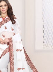 Embroidered Faux Georgette Classic Saree in White