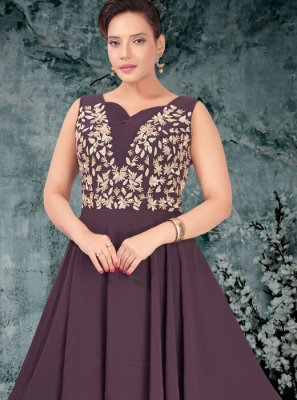 Embroidered Faux Georgette Designer Gown