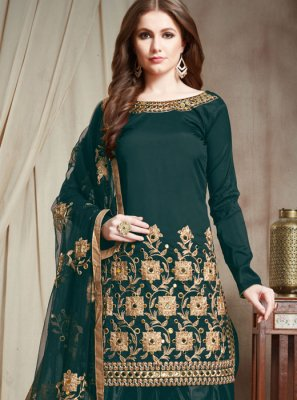 Embroidered Faux Georgette Designer Patiala Suit