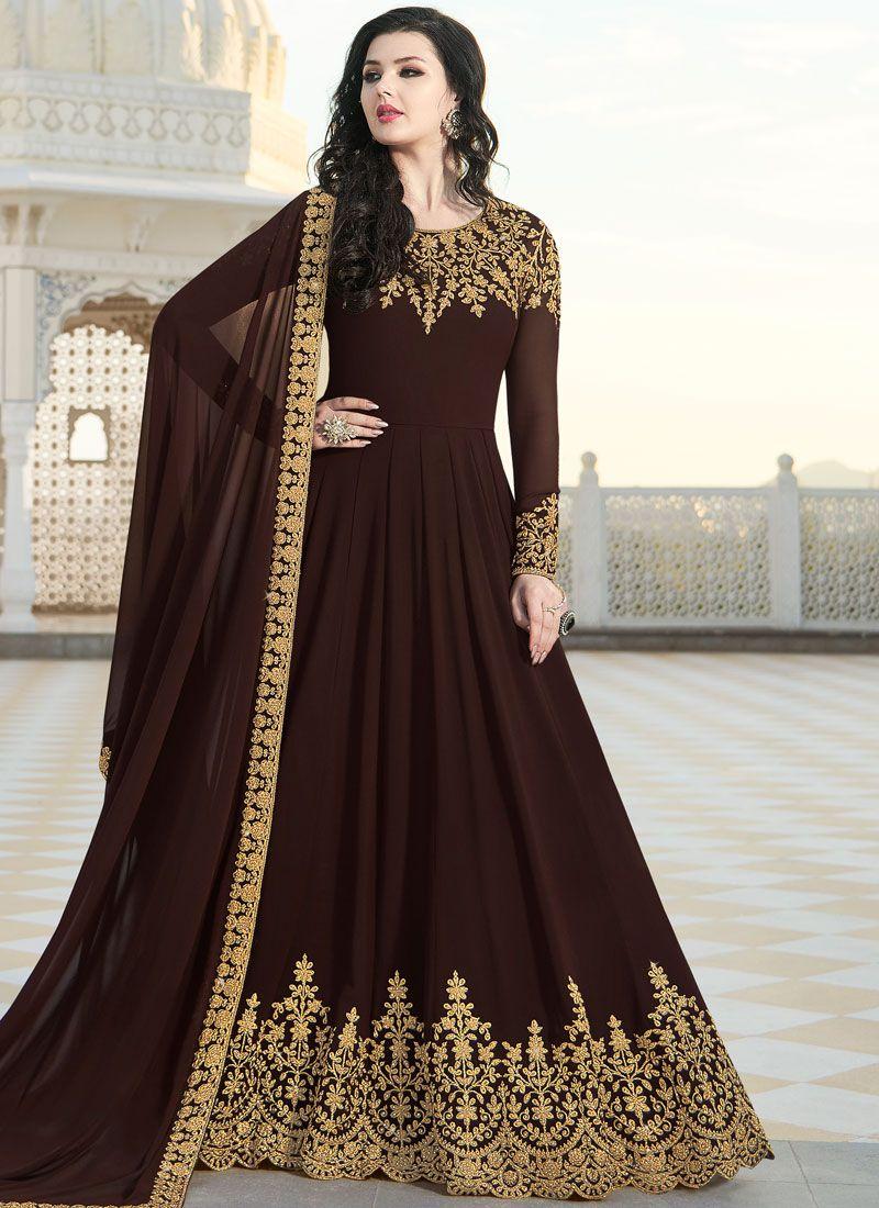 Embroidered Faux Georgette Floor Length Anarkali Suit