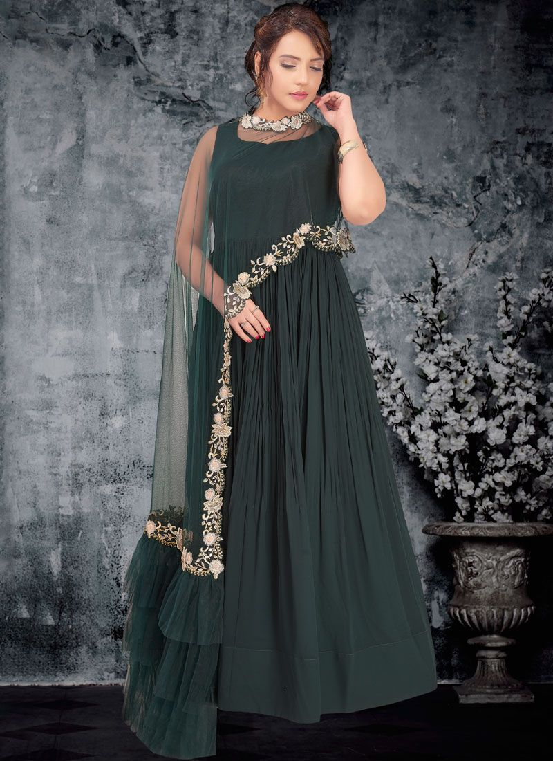 Embroidered Faux Georgette Green Trendy Gown