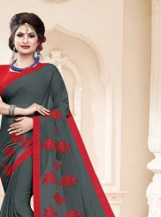 Embroidered Faux Georgette Grey Classic Saree