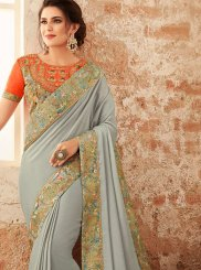 Embroidered Faux Georgette Grey Designer Traditional Saree
