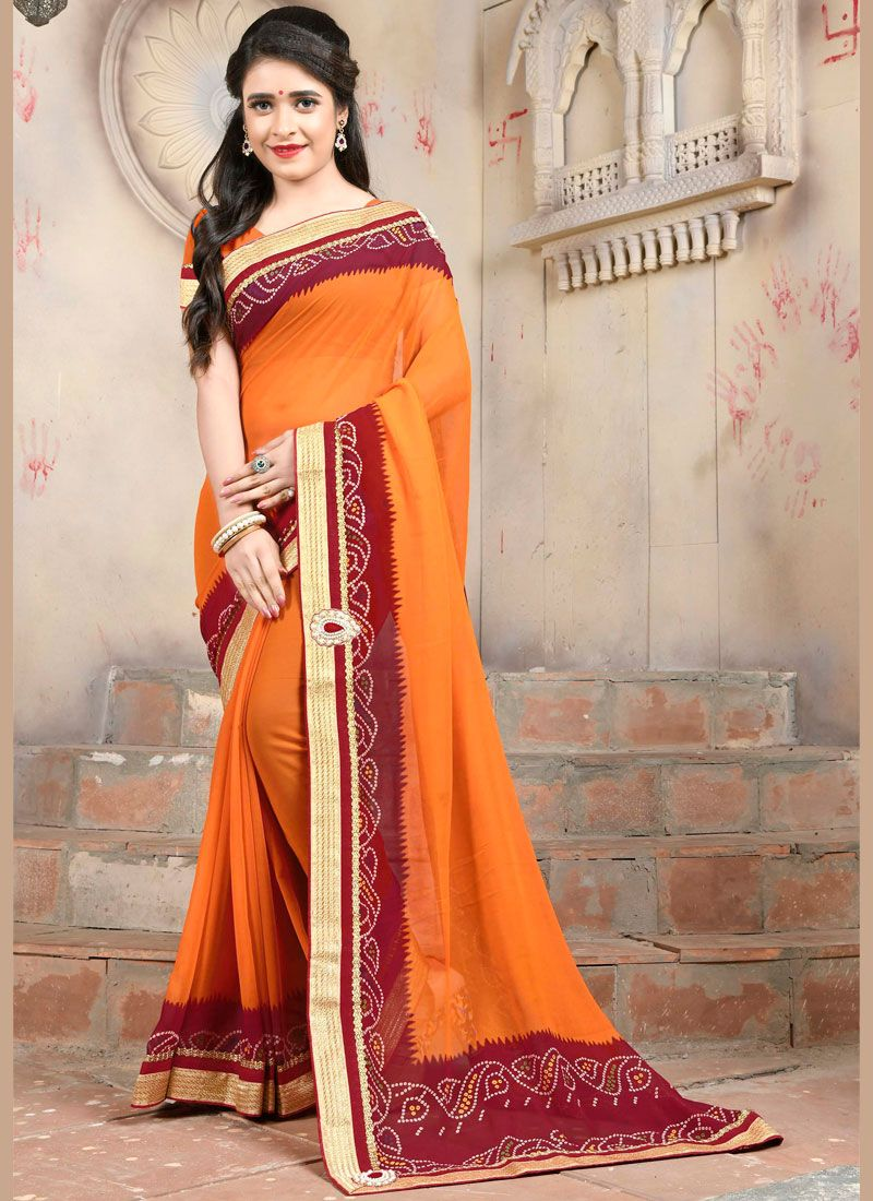 Embroidered Faux Georgette Orange Casual Saree