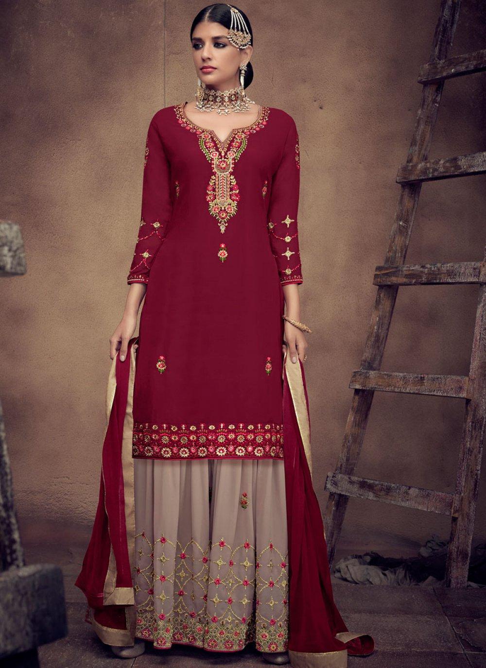 Embroidered Faux Georgette Palazzo Designer Salwar Kameez in Maroon