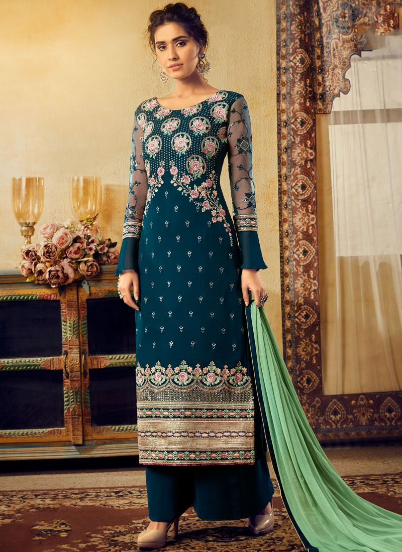 Embroidered Faux Georgette Palazzo Salwar Kameez in Teal