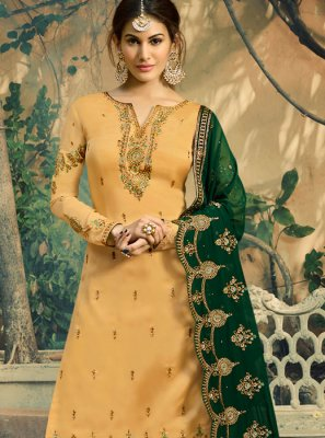 Embroidered Faux Georgette Palazzo Salwar Suit