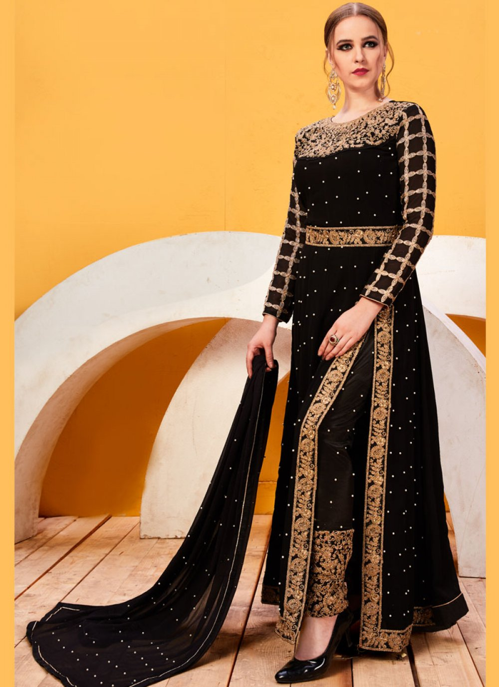 Embroidered Faux Georgette Pant Style Suit