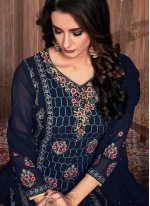 Embroidered Faux Georgette Pant Style Suit in Navy Blue