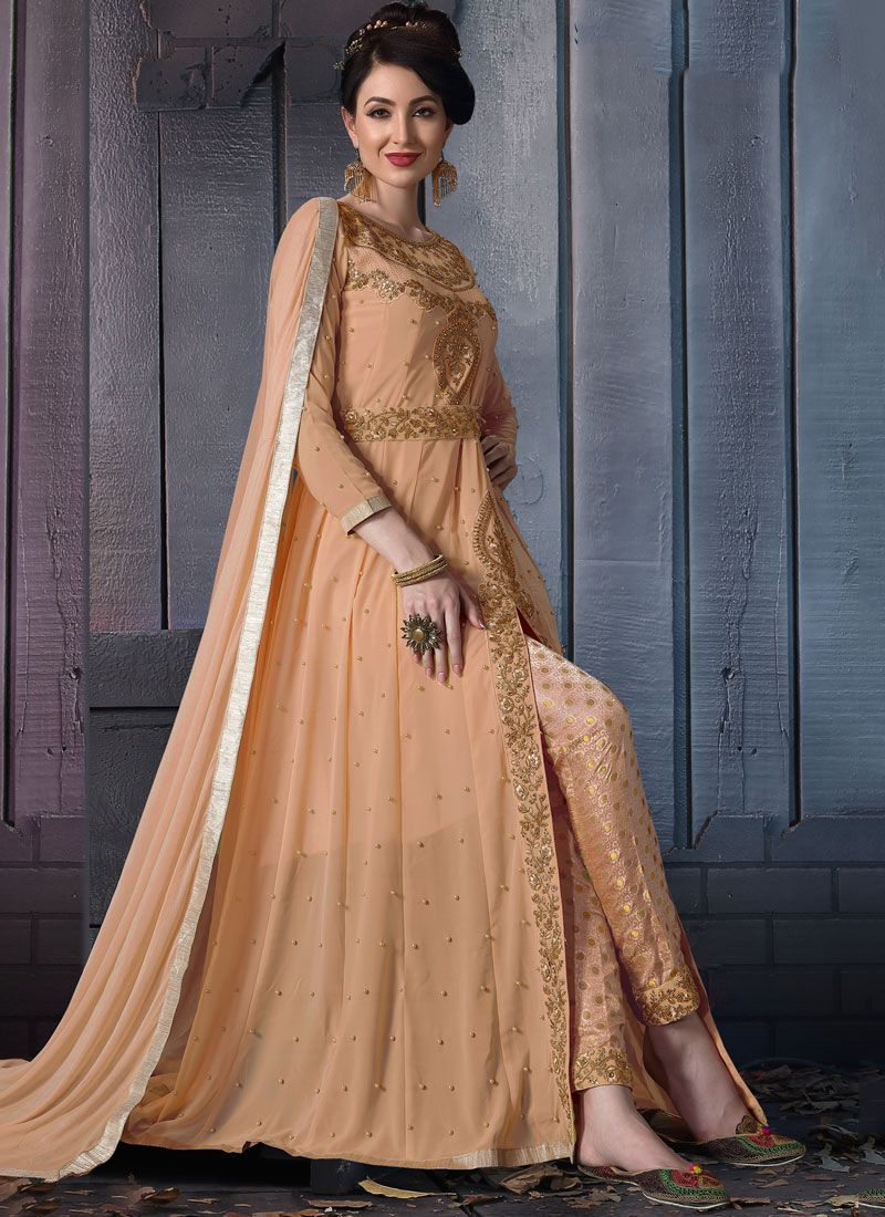 Embroidered Faux Georgette Pant Style Suit in Peach