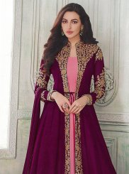 Embroidered Faux Georgette Pink and Purple Floor Length Anarkali Suit