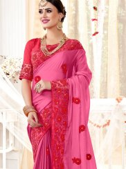 Embroidered Faux Georgette Pink Classic Designer Saree