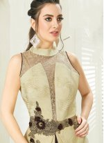 Embroidered Faux Georgette Readymade Gown