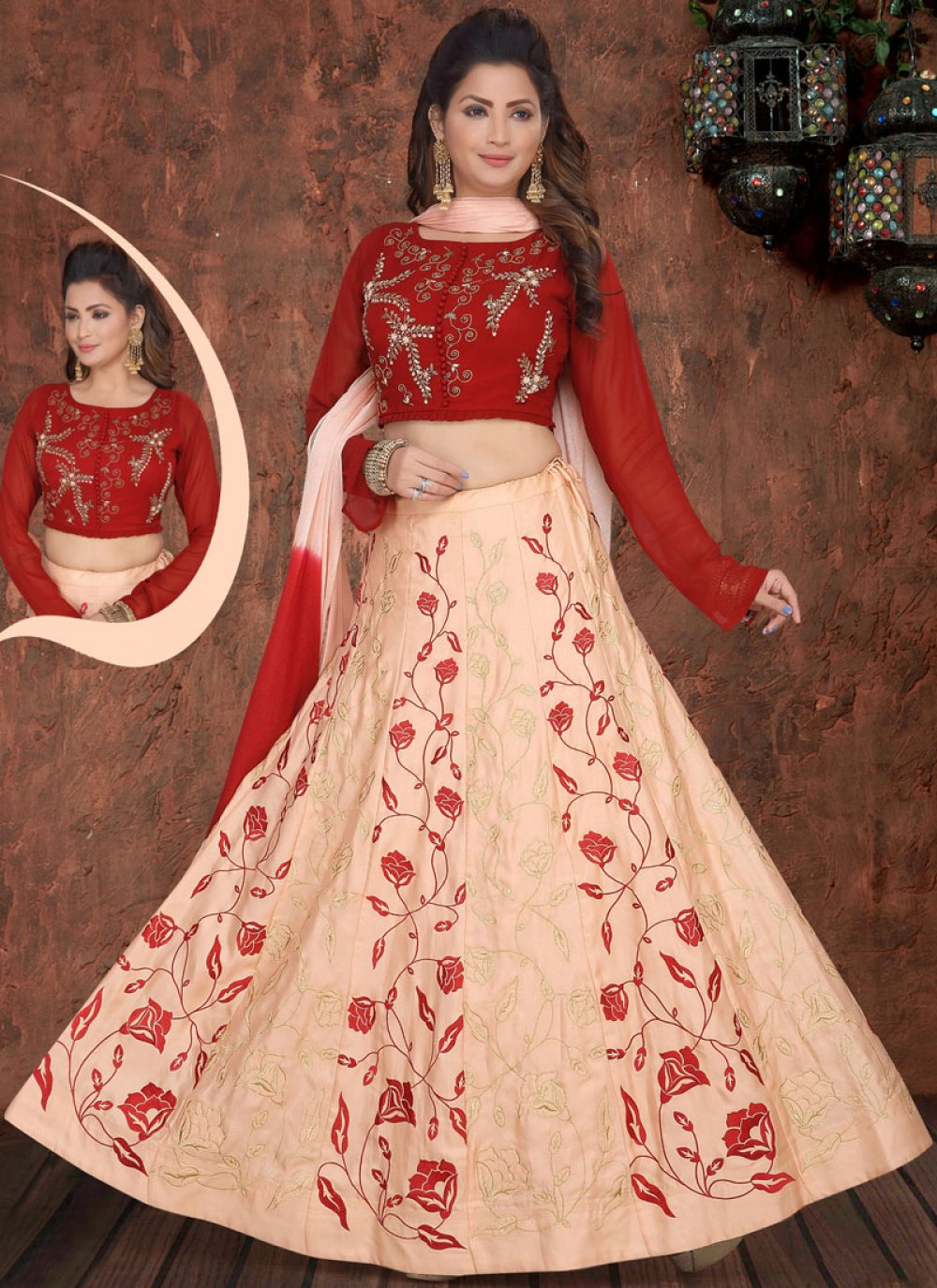 Embroidered Faux Georgette Readymade Lehenga Choli in Pink