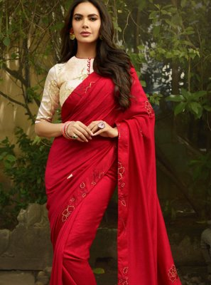Embroidered Faux Georgette Red Classic Designer Saree