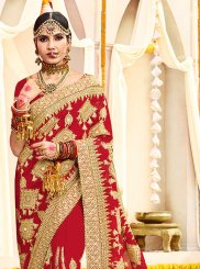 Embroidered Faux Georgette Red Saree