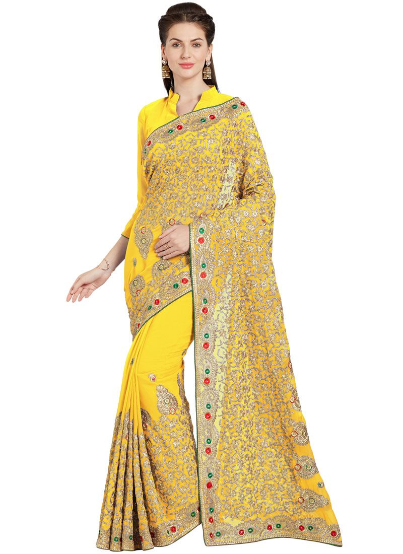 Embroidered Faux Georgette Saree