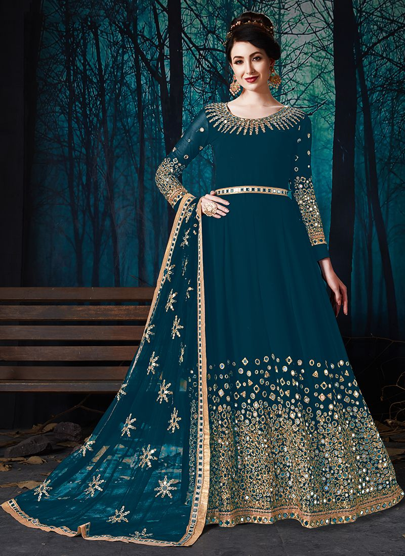 Embroidered Faux Georgette Teal Anarkali Salwar Suit