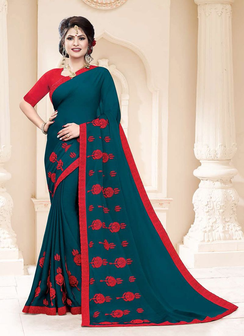 Embroidered Faux Georgette Teal Classic Saree