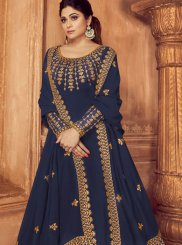 Embroidered Faux Georgette Trendy Anarkali Salwar Kameez