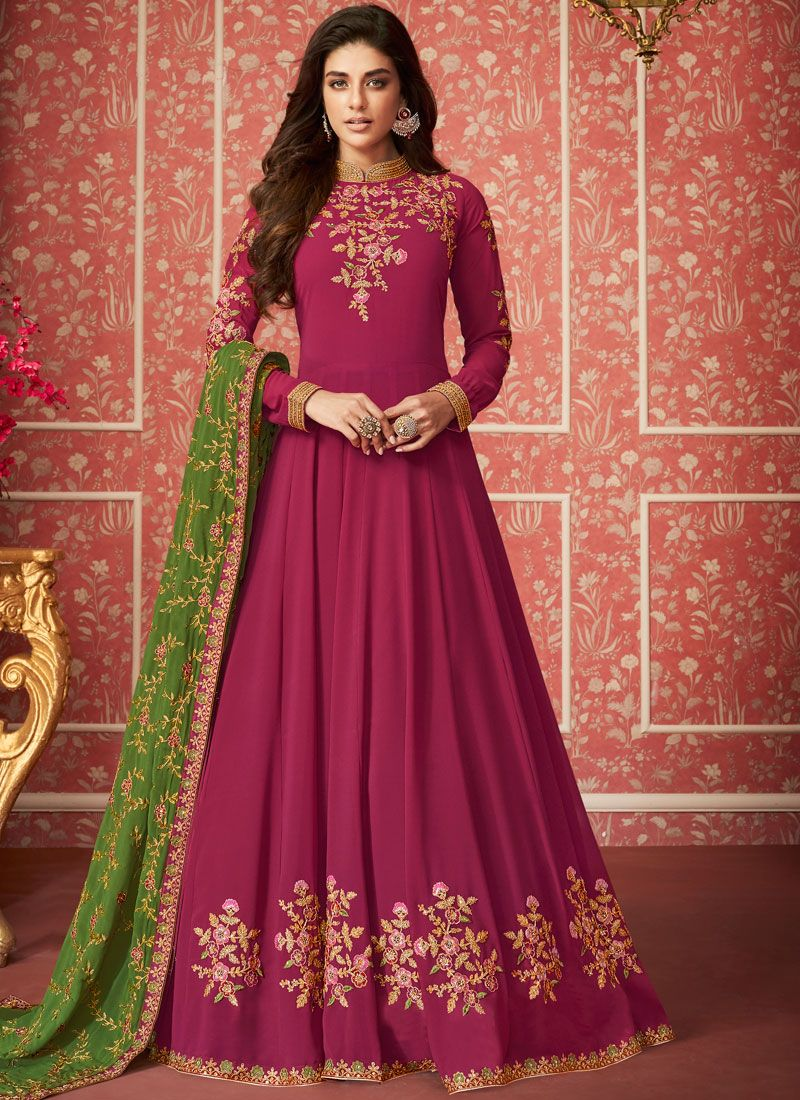 Embroidered Faux Georgette Trendy Anarkali Salwar Suit