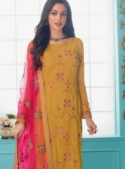 Embroidered Faux Georgette Trendy Churidar Salwar Suit