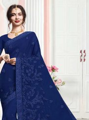 Embroidered Faux Georgette Trendy Saree in Blue