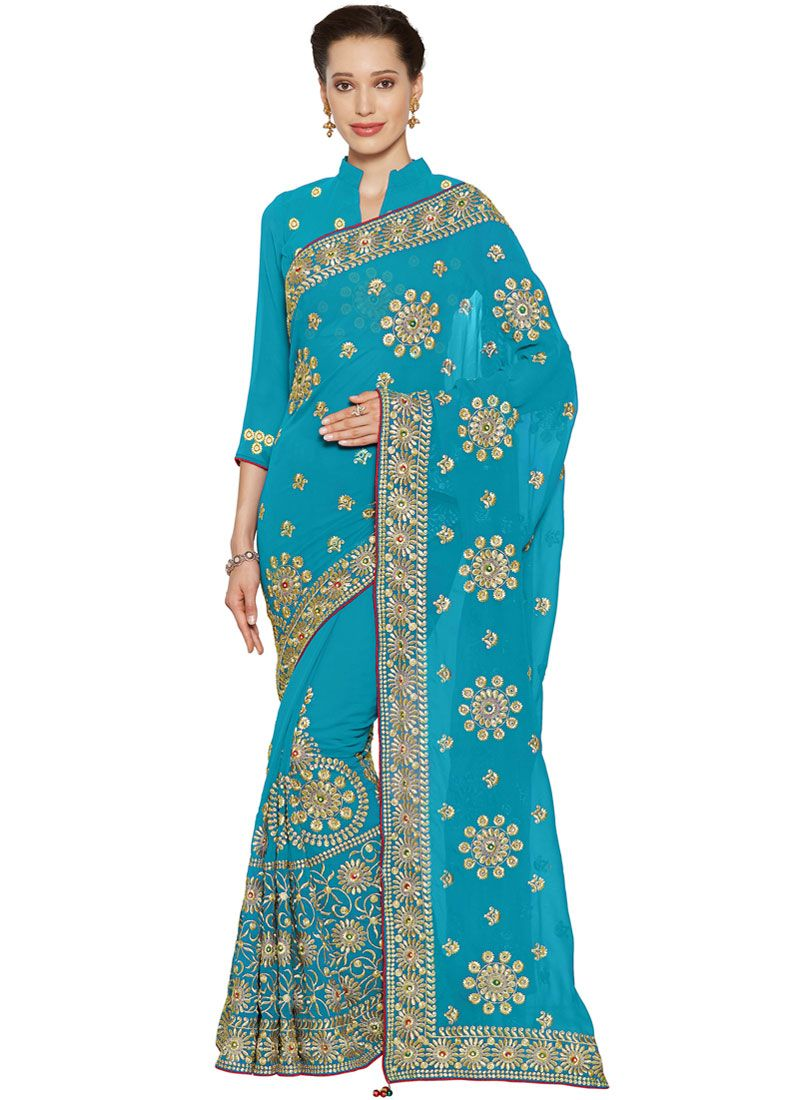 Embroidered Faux Georgette Turquoise Classic Saree