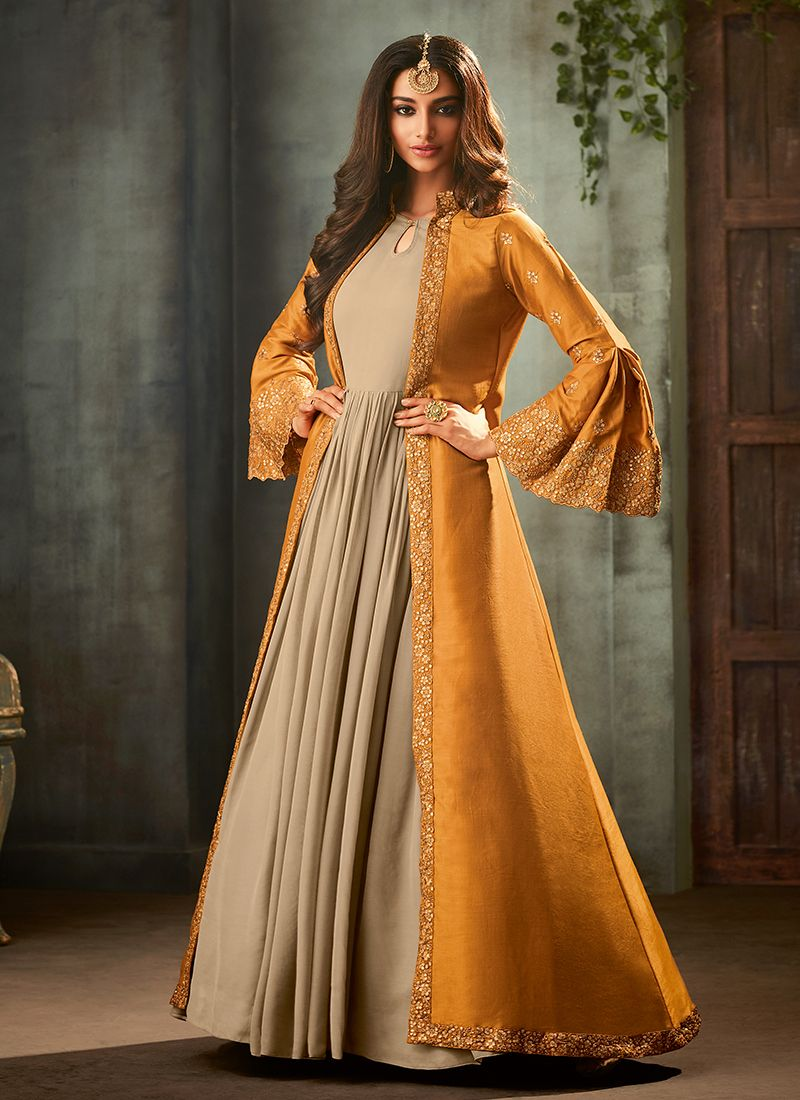 Embroidered Faux Georgette Yellow Floor Length Anarkali Suit