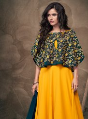 Embroidered Faux Georgette Yellow Readymade Gown