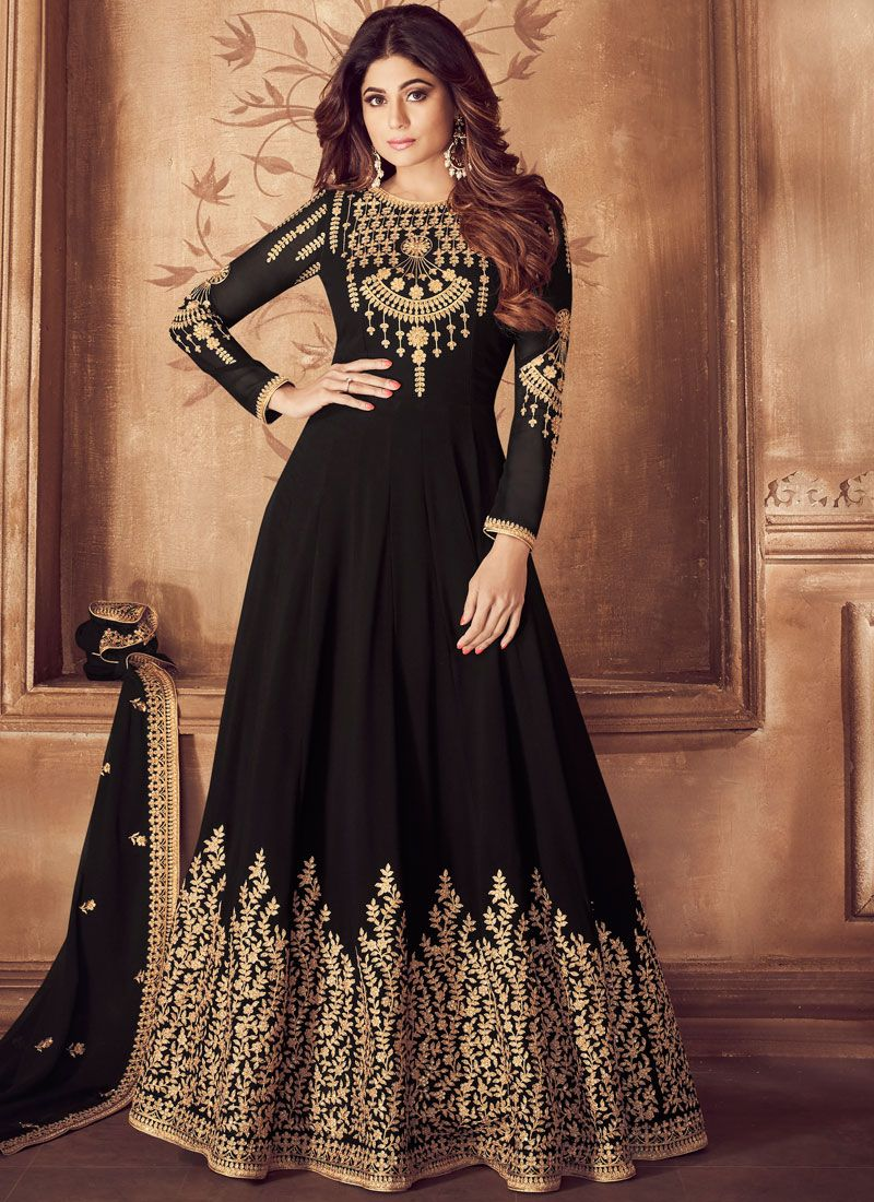 Embroidered Georgette Black Anarkali Salwar Kameez