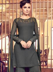 Embroidered Georgette Black Designer Palazzo Suit