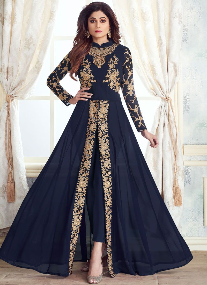 Embroidered Georgette Blue Anarkali Salwar Kameez