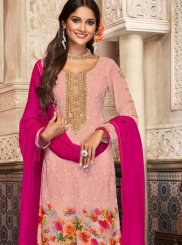 Embroidered Georgette Churidar Salwar Kameez in Pink