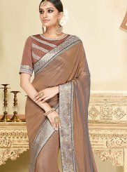 Embroidered Georgette Classic Designer Saree in Brown