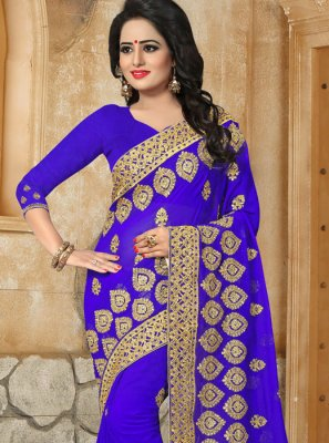 Embroidered Georgette Classic Saree in Blue