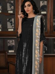 Embroidered Georgette Designer Palazzo Salwar Kameez in Black