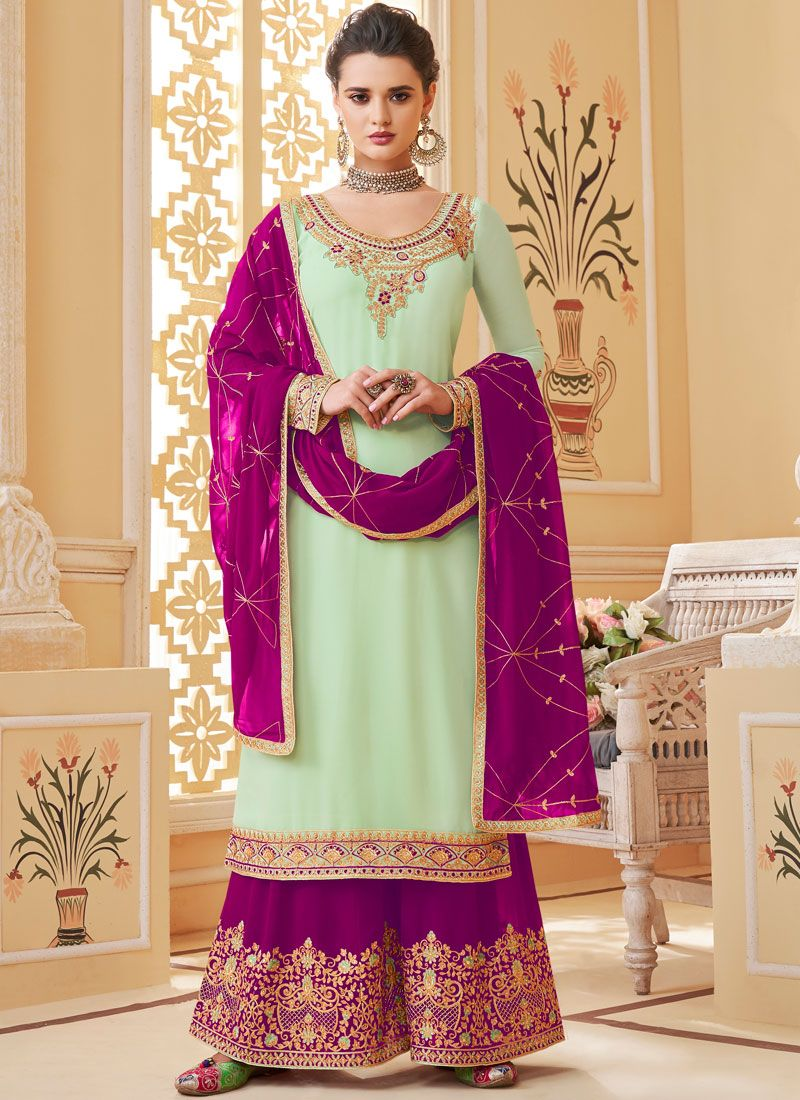 Embroidered Georgette Designer Palazzo Salwar Suit in Off White