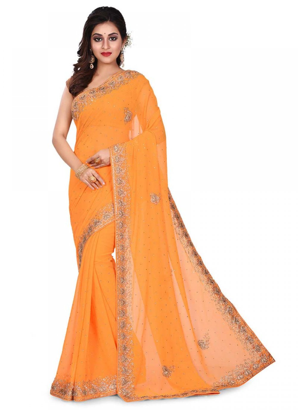 Embroidered Georgette Designer Traditional Saree