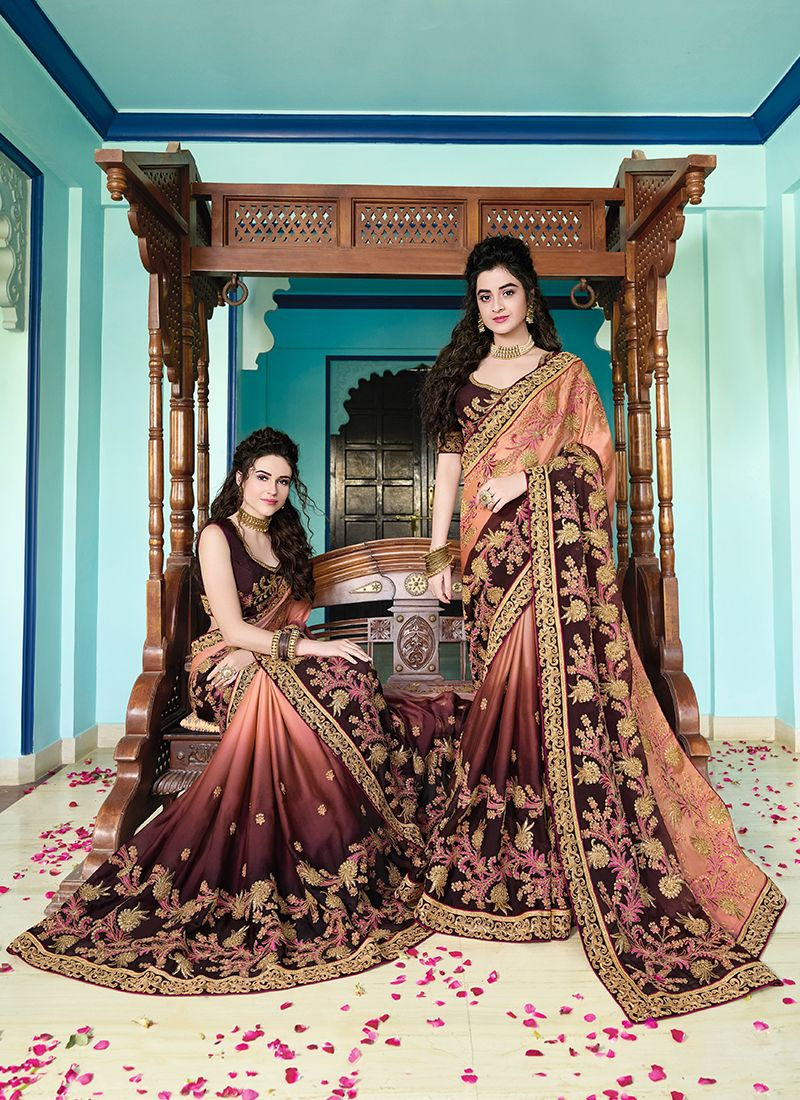 Embroidered Georgette Peach and Wine Classic Saree