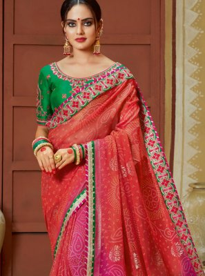 Embroidered Georgette Printed Saree in Multi Colour