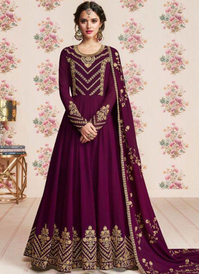 Embroidered Georgette Purple Anarkali Salwar Suit
